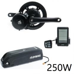 EVBIKE Přestavbová sada na elektrokolo 250W, 36V, displej C10, baterie 15,6Ah do rámu - EVBIKE