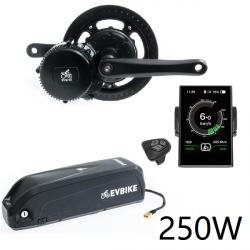 EVBIKE Přestavbová sada na elektrokolo 250W, 36V, displej C18, baterie 15,6Ah do rámu - EVBIKE