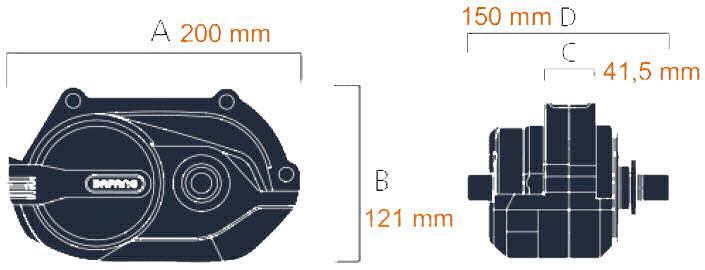 Bafang M420 rozměry